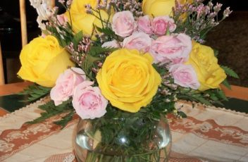 Pink and Yellow Rose Boquet Photographed by Josephine McCrea